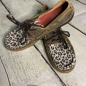 Twisted X leopard boat shoes